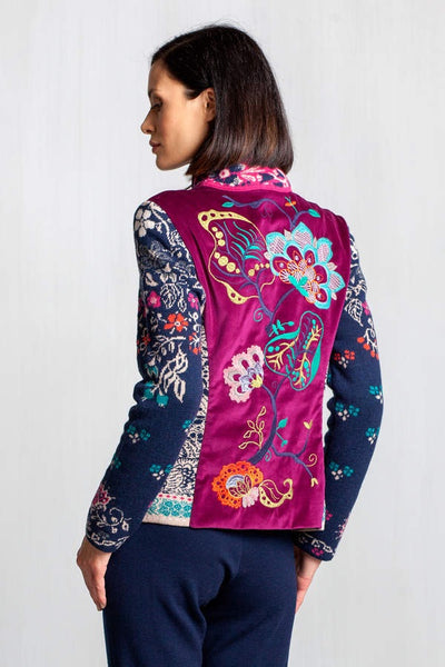 Jacket with embroidered back