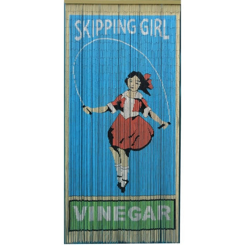 Bamboo curtain; skipping girl