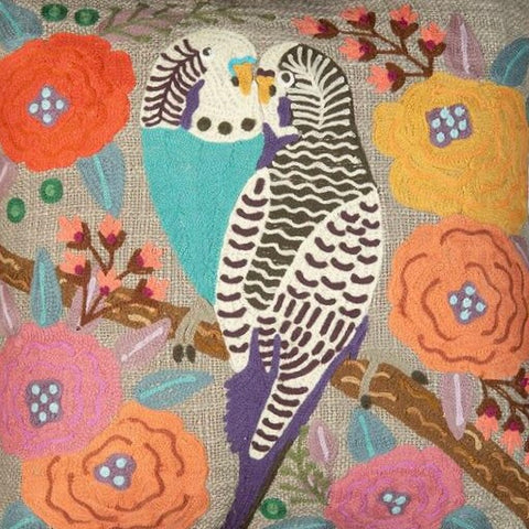 Kissing budgerigar cushion