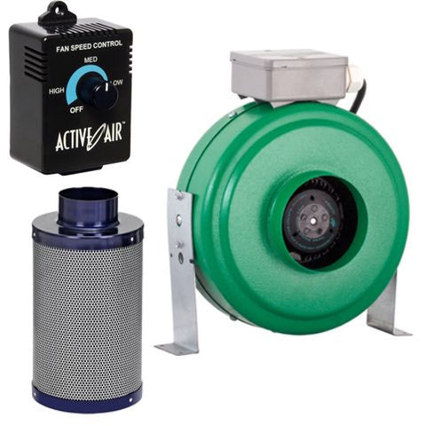 "Active Air 8"" Inline Fan with Carbon Filter and Speed Controller Combo"