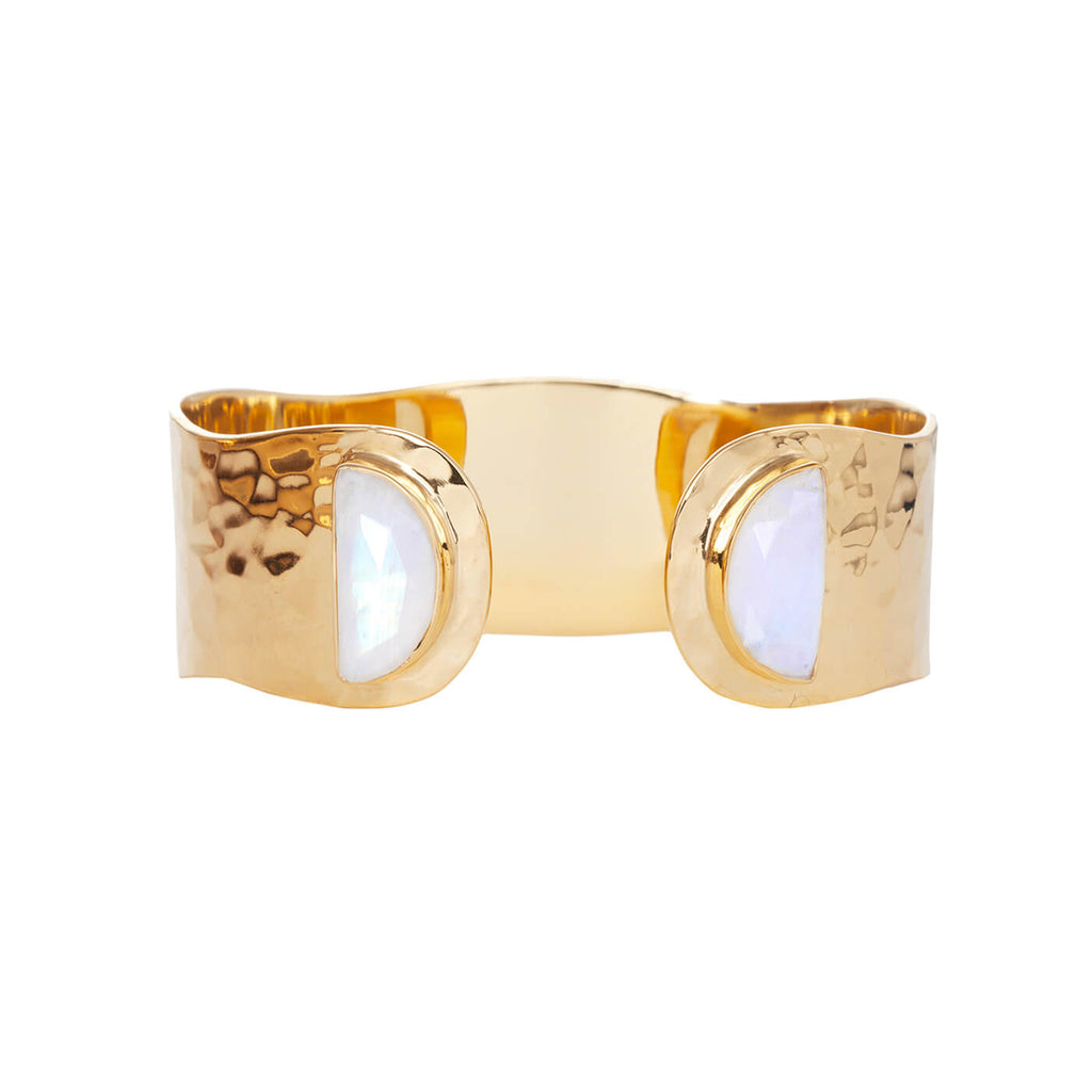 Crescent Moonstone Cuff - Auren Jewellery