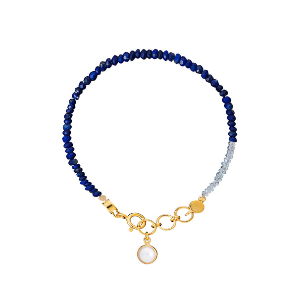 Lapis, Moonstone & Pearl Friendship Bracelet - Auren Jewellery