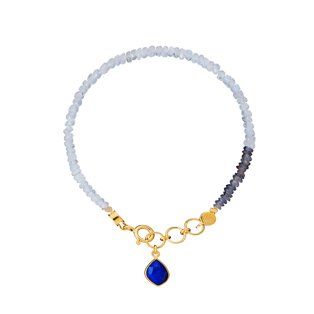 Moonstone, Iolite & Lapis Friendship Bracelet