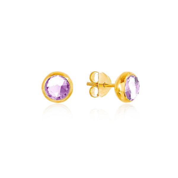 Amethyst February Birthstone Stud Earrings - Auren Jewellery