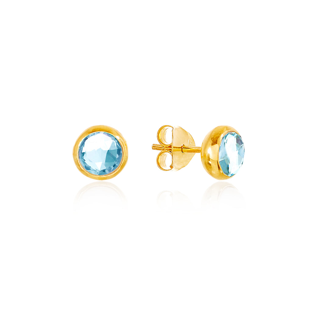 Blue Topaz March Birthstone Stud Earrings