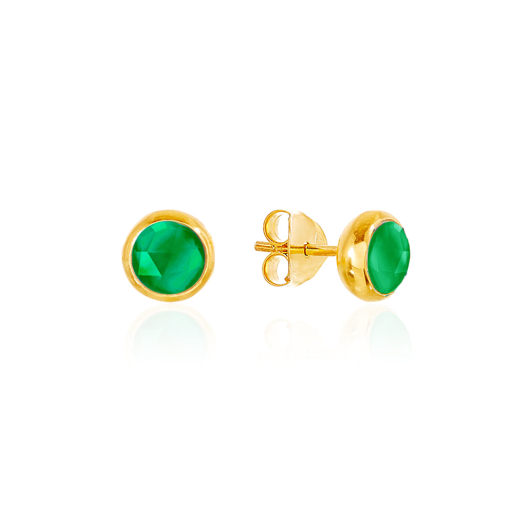 Emerald Quartz May Birthstone Stud Earrings