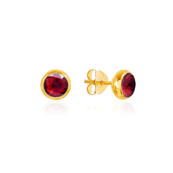 Garnet January Birthstone Stud Earrings - Auren Jewellery
