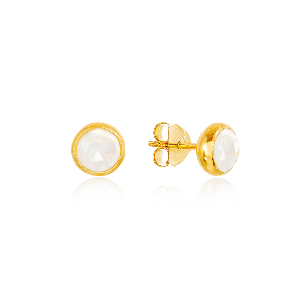 Moonstone October Birthstone Stud Earrings