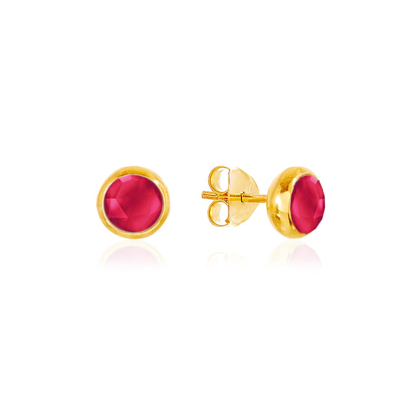 Ruby Quartz July Birthstone Stud Earrings - Auren Jewellery