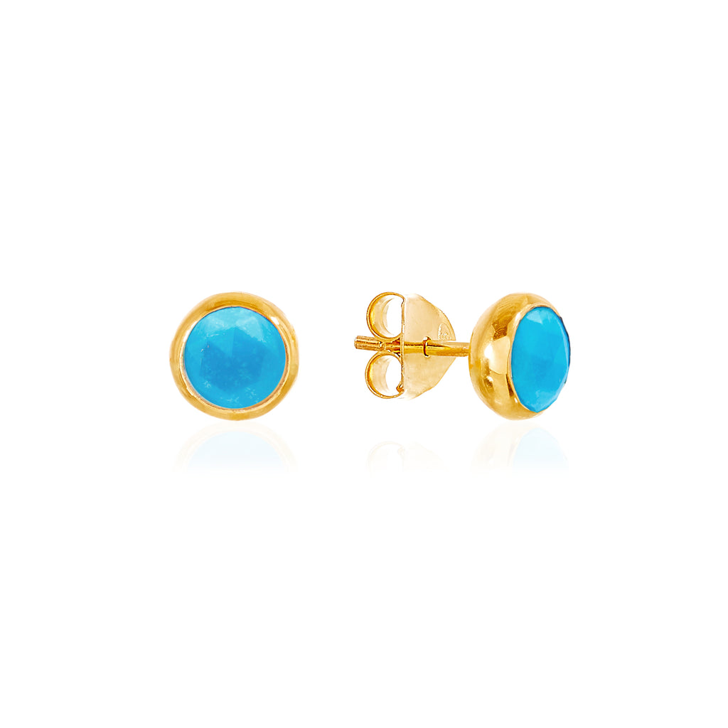 Turquoise December Birthstone Stud Earrings