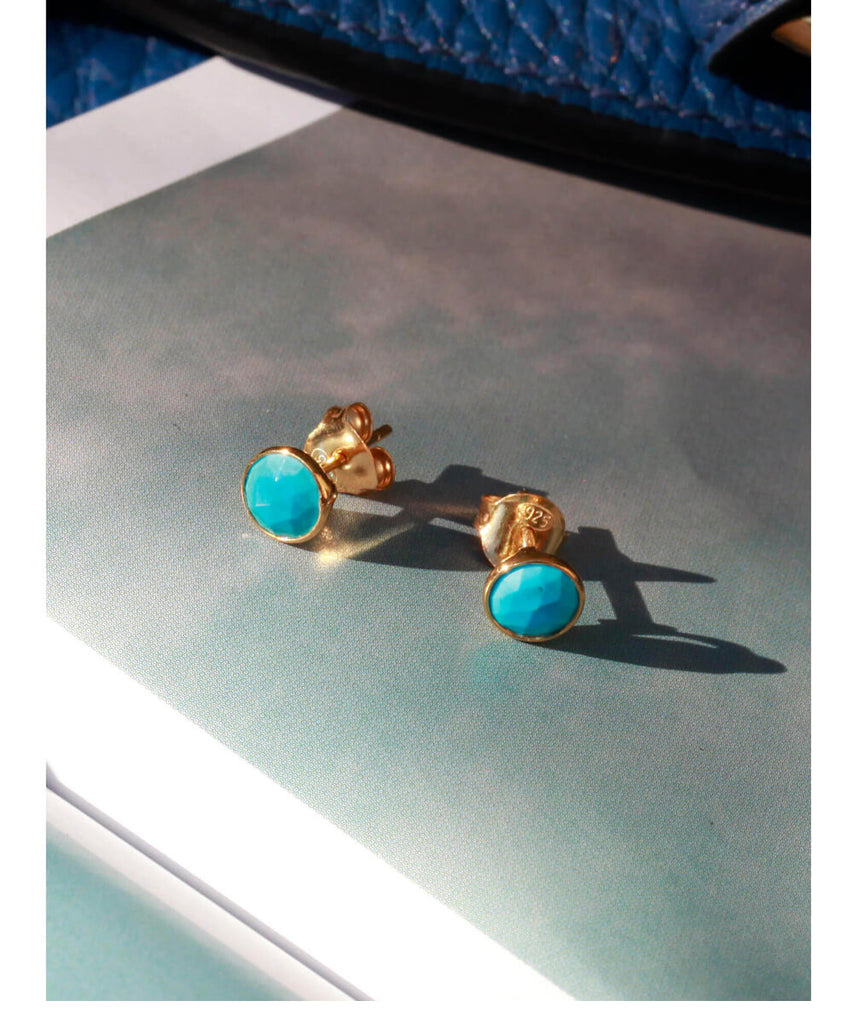 Turquoise December Birthstone Stud Earrings - Auren Jewellery