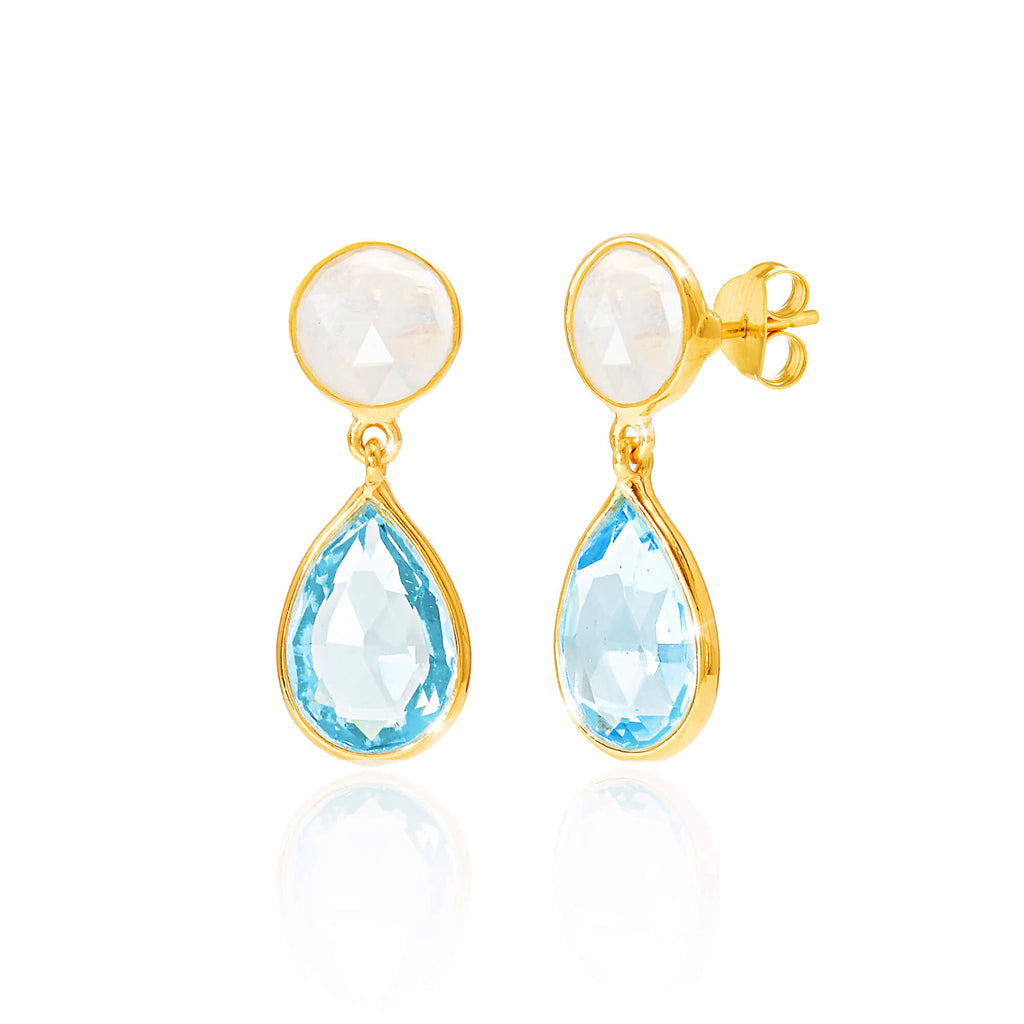 Moonstone & Blue Topaz Drop Earrings