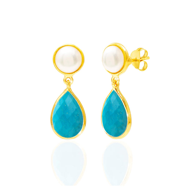 Pearl & Turquoise Drop Earrings - Auren Jewellery