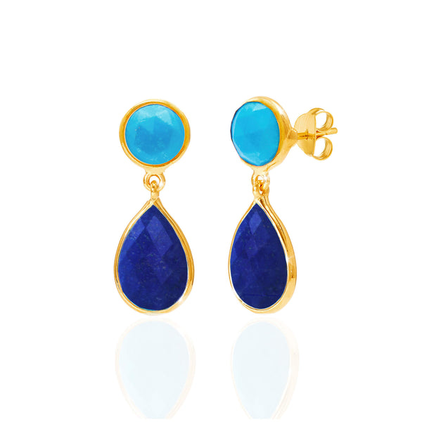 Turquoise & Lapis Lazuli Drop Earrings - Auren Jewellery