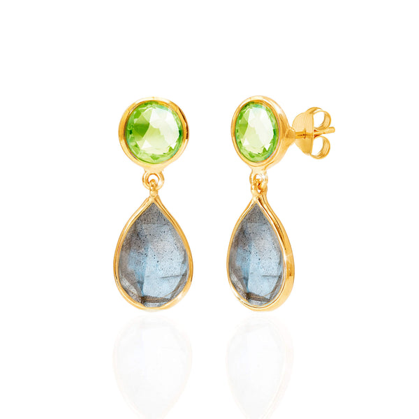 Peridot & Labradorite Drop Earrings - Auren Jewellery