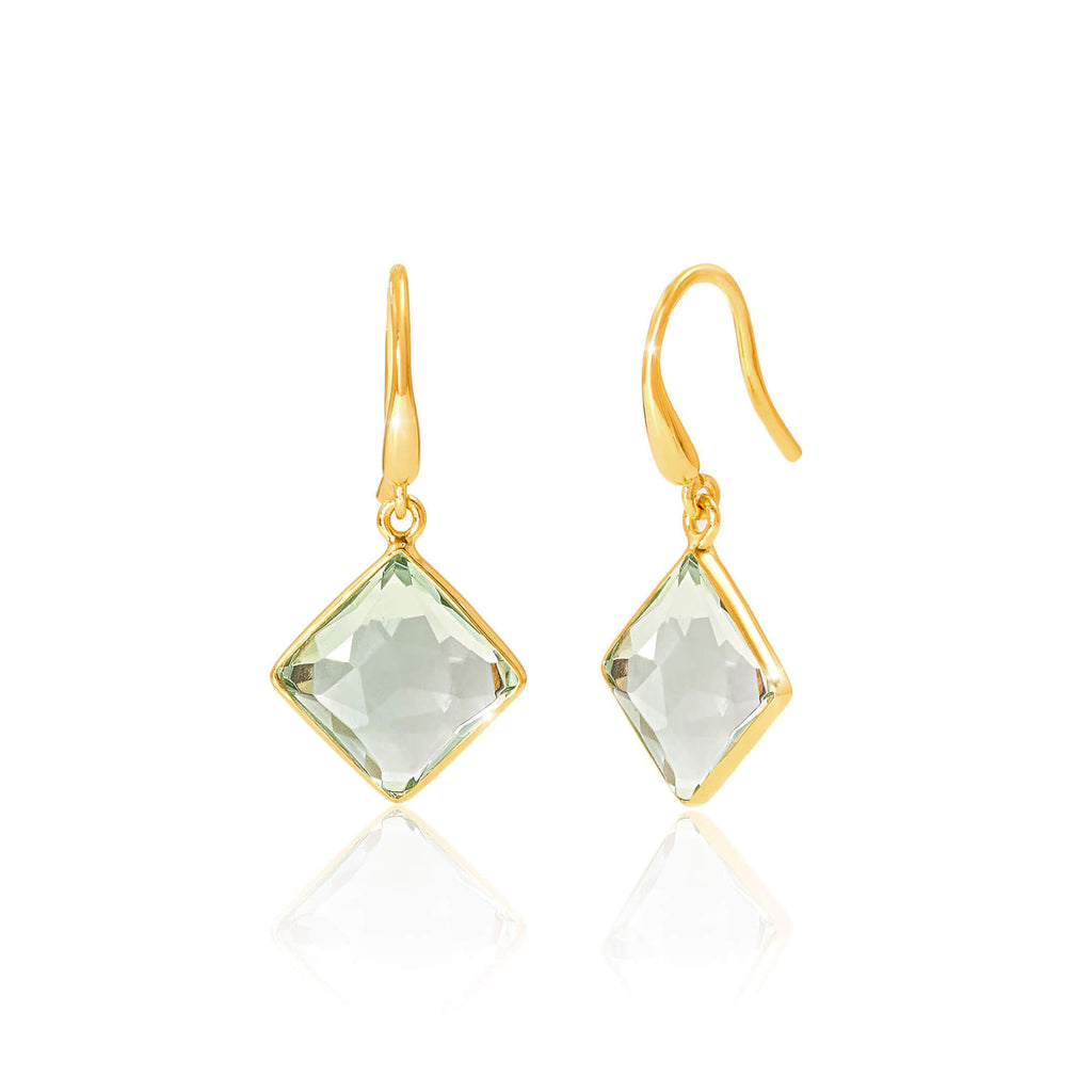 Geometric Green Amethyst Drop Earrings