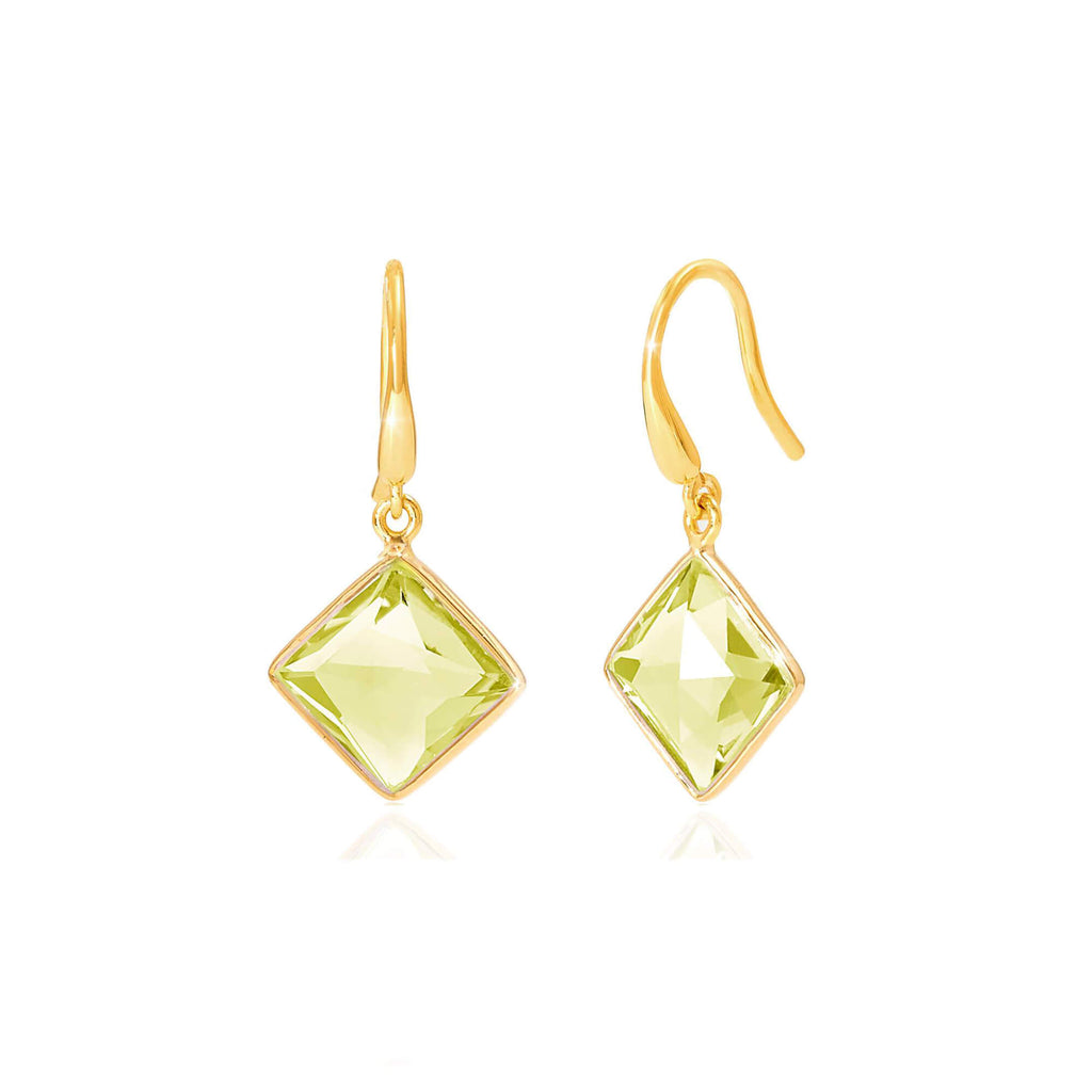Geometric Lemon Topaz Drop Earrings