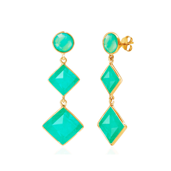 Kaleidoscope Chrysoprase Earrings - Auren Jewellery