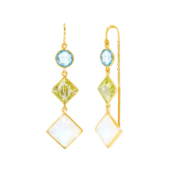 Kaleidoscope Multicolour Gem Thread Earrings - Auren Jewellery