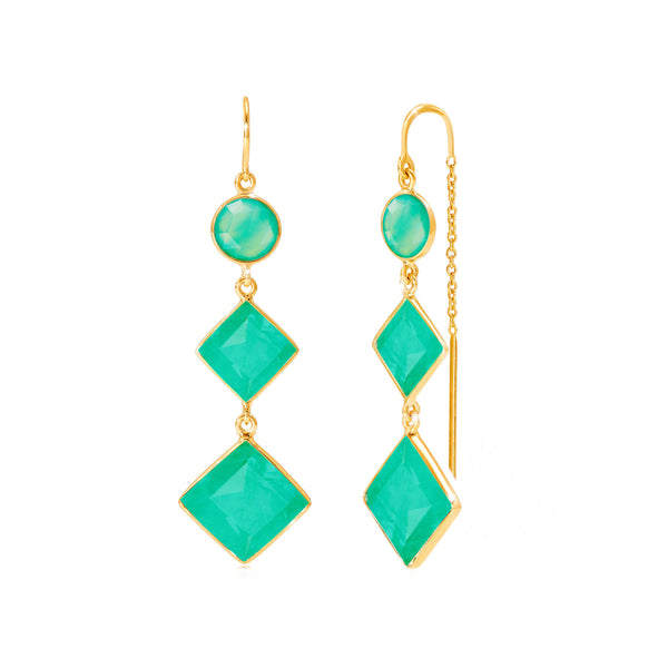 Kaleidoscope Chrysoprase Thread Earrings - Auren Jewellery