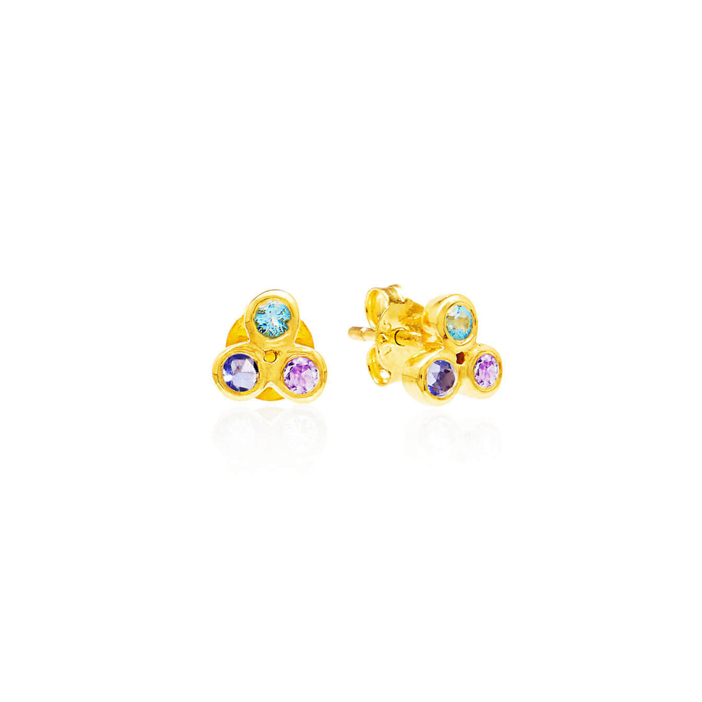 Trilogy Gemstone Studs - Auren Jewellery