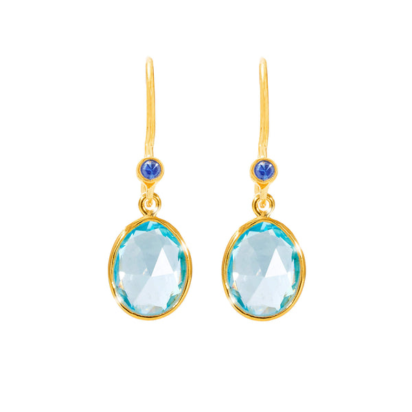Ceara Blue Topaz & Sapphire Earrings - Auren Jewellery