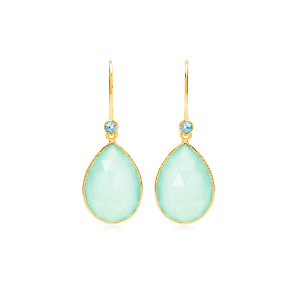 Raindrops Blue Topaz & Aqua Chalcedony Earrings - Auren Jewellery