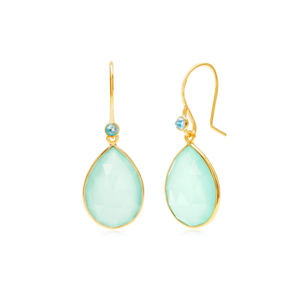 Raindrops Blue Topaz & Aqua Chalcedony Earrings
