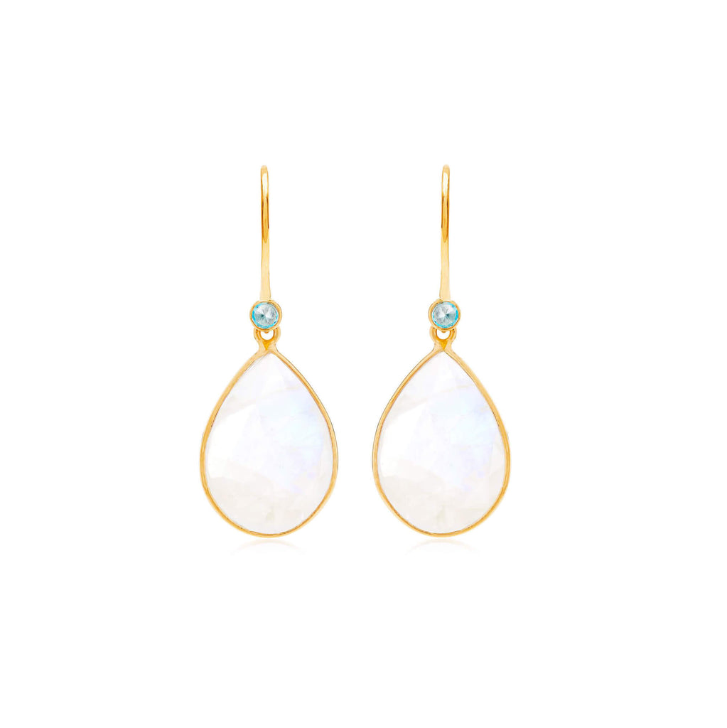 Raindrops Blue Topaz & Moonstone Earrings
