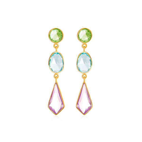 Chareau Tiered Gemstone Earrings - Auren Jewellery