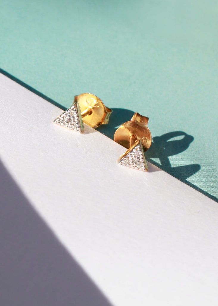 Triangle Diamond Pave Studs - Auren Jewellery