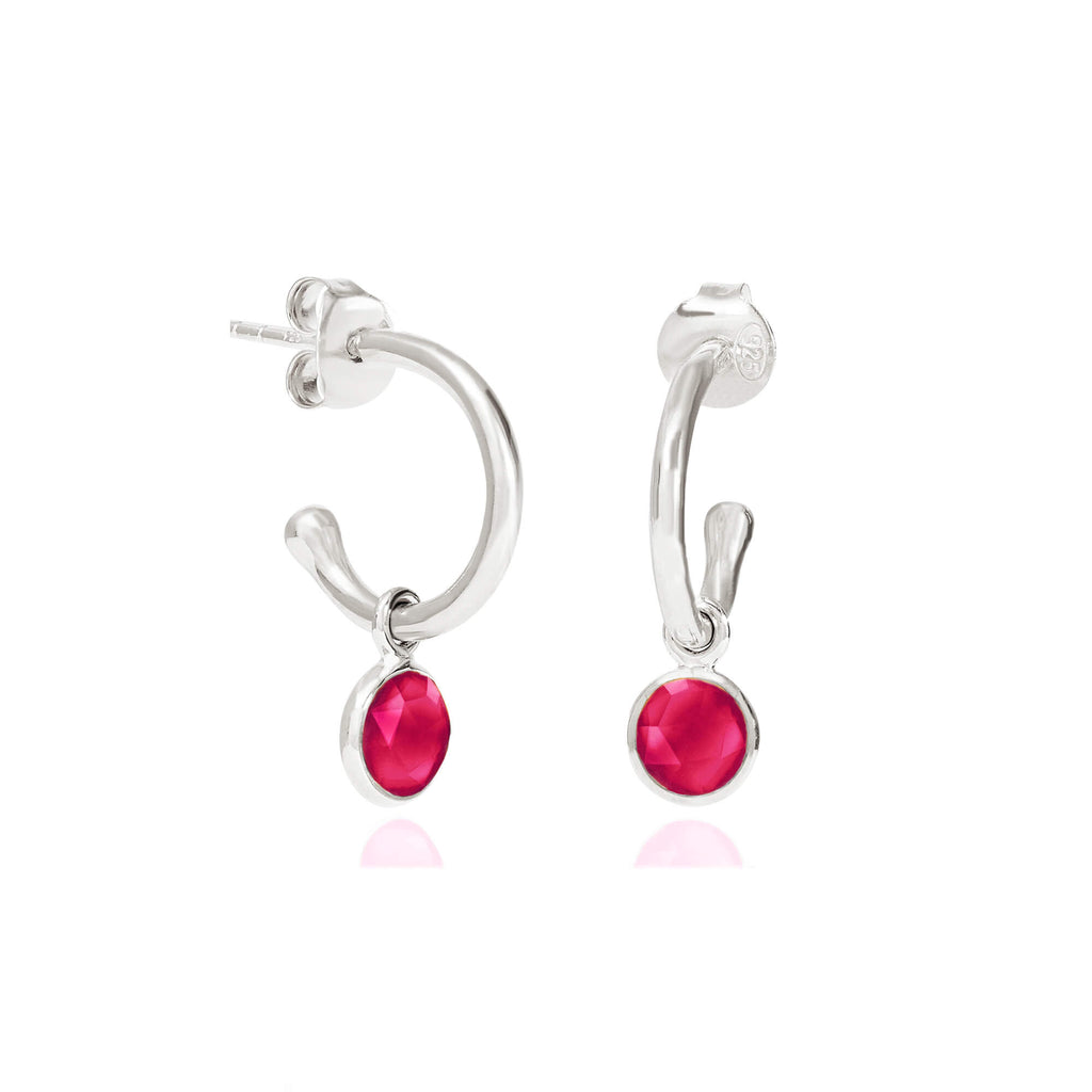 Ruby Quartz July Birthstone Hoop Earrings