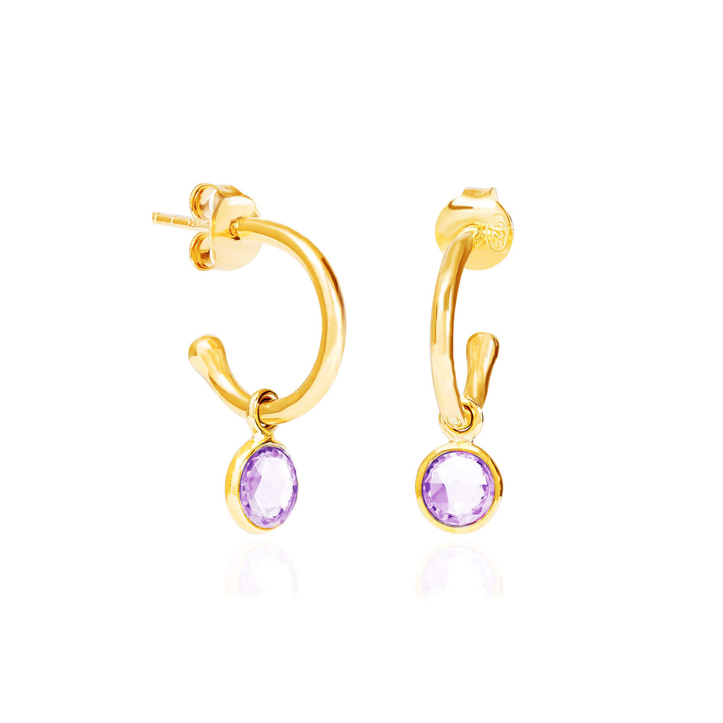 Amethyst February Birthstone Hoop Earrings - Auren Jewellery