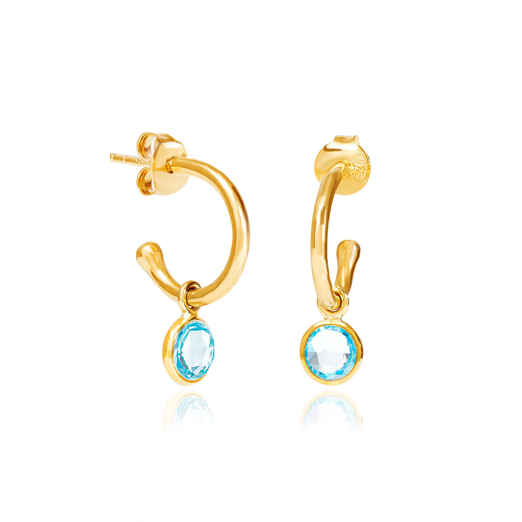 Blue Topaz March Birthstone Hoop Earrings