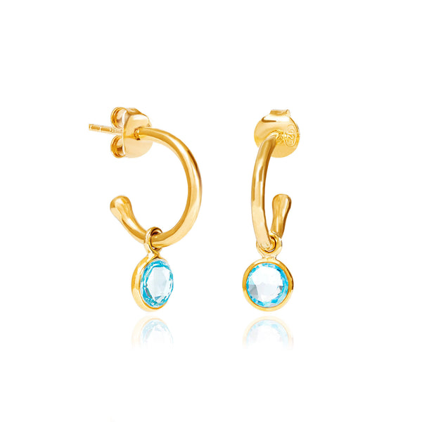 Blue Topaz March Birthstone Hoop Earrings - Auren Jewellery