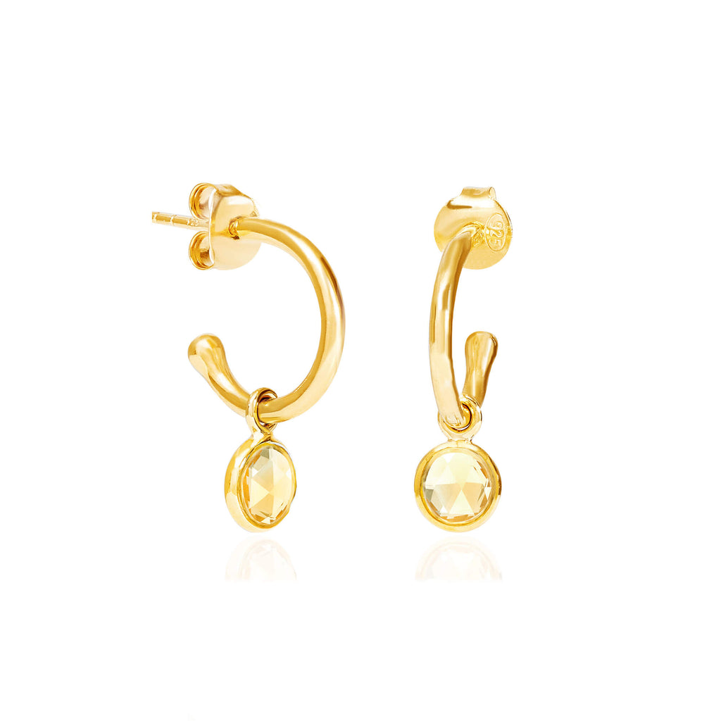 Citrine November Birthstone Hoop Earrings