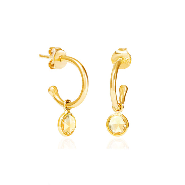 Citrine November Birthstone Hoop Earrings - Auren Jewellery