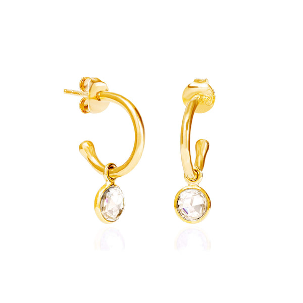 Crystal April Birthstone Hoop Earrings - Auren Jewellery