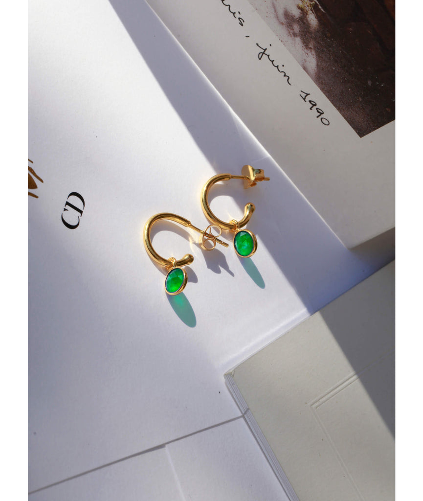 Emerald Quartz May Birthstone Hoop Earrings FB - Auren Jewellery