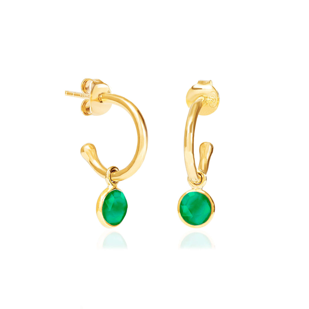 Emerald Quartz May Birthstone Hoop Earrings FB