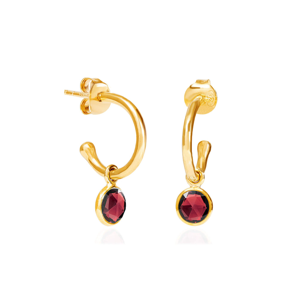 Garnet January Birthstone Hoop Earrings