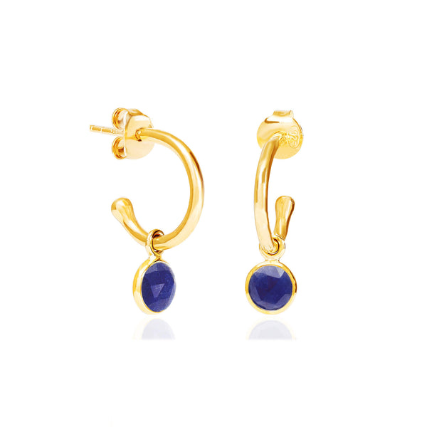 Lapis Lazuli September Birthstone Hoop Earrings - Auren Jewellery