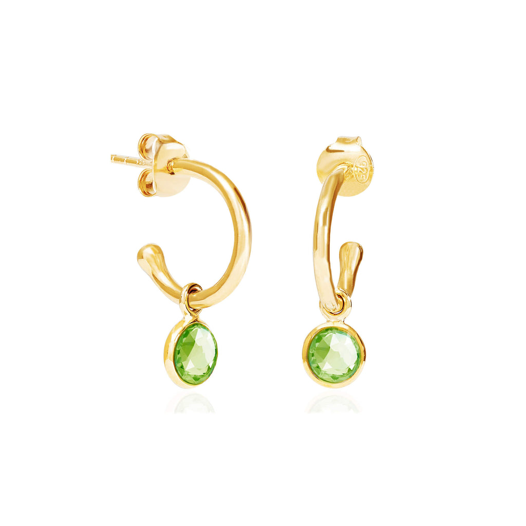Peridot August Birthstone Hoop Earrings