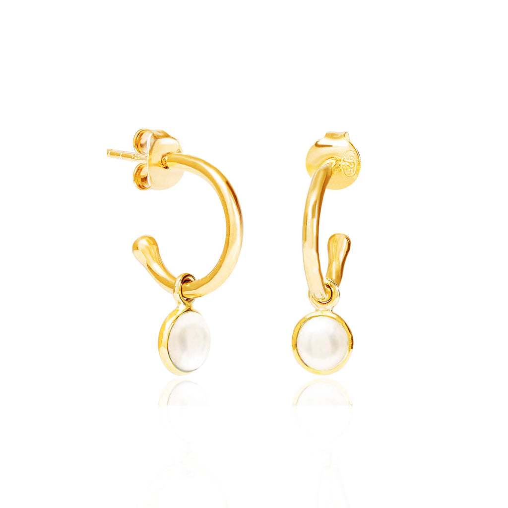 Pearl June Birthstone Hoop Earrings FB