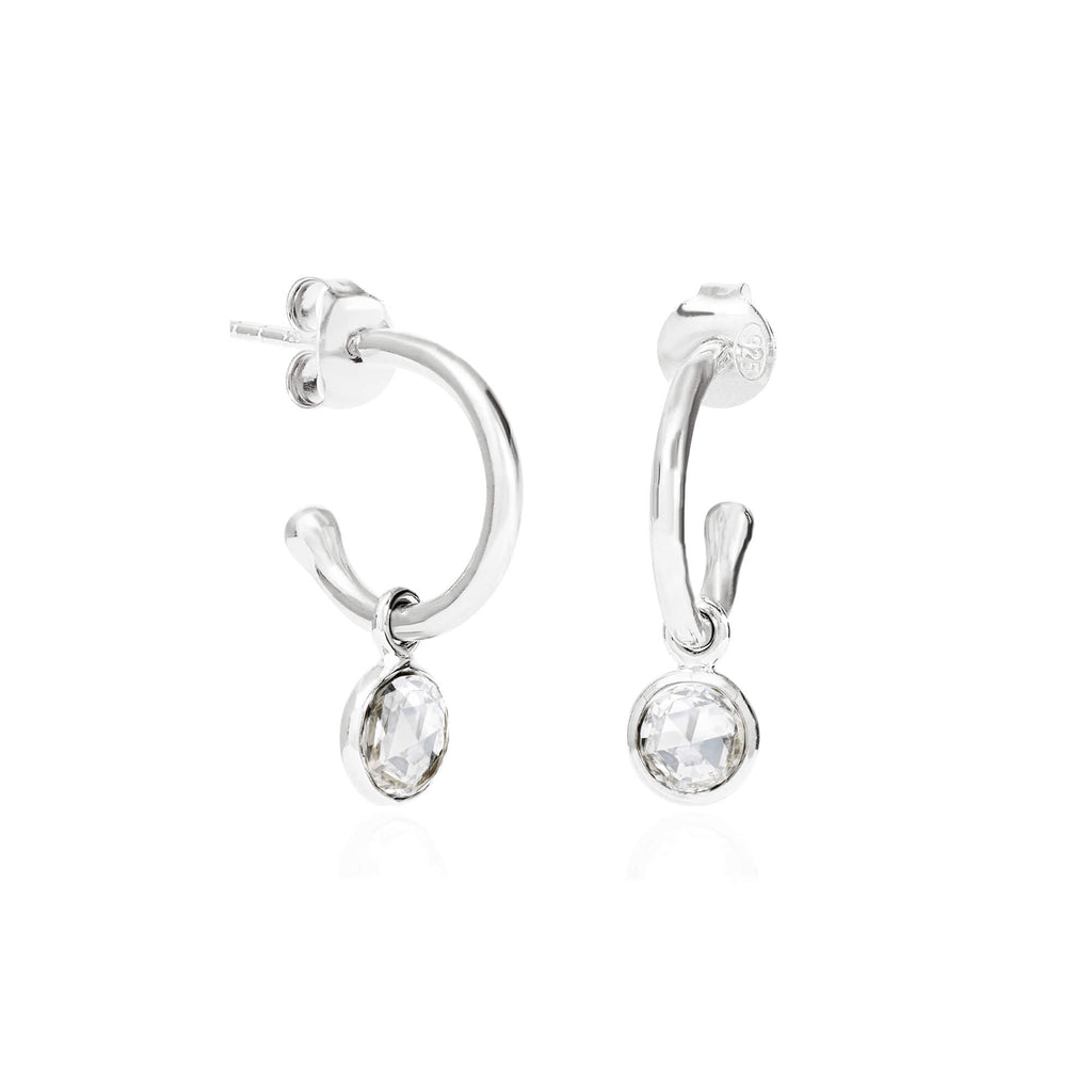 Crystal April Birthstone Hoop Earrings