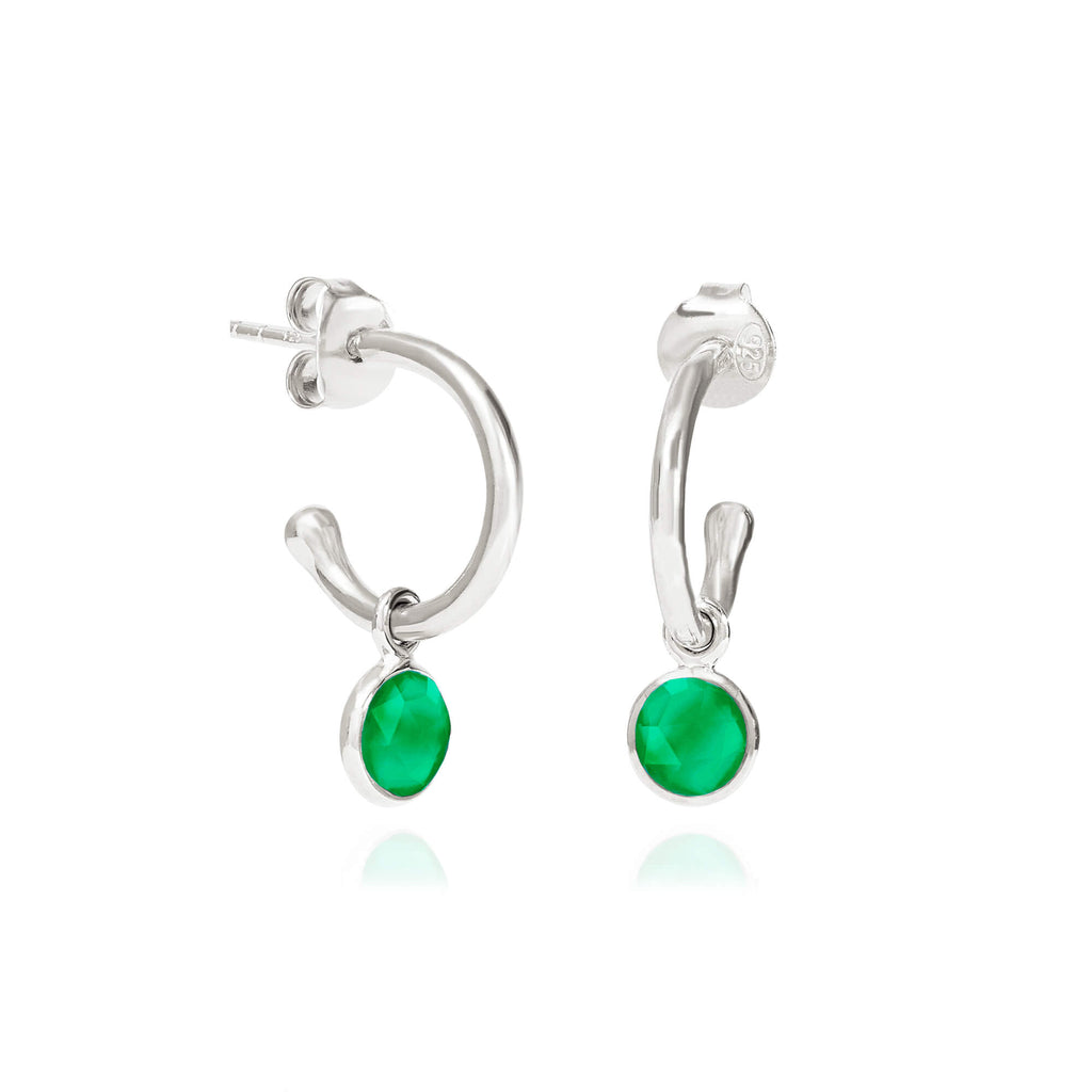 Sterling Silver Emerald Quartz May Birthstone Hoop Earrings FB