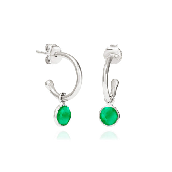 Emerald Quartz May Birthstone Hoop Earrings - Auren Jewellery