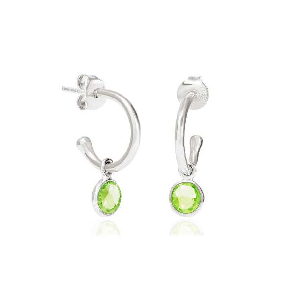 Peridot August Birthstone Hoop Earrings - Auren Jewellery