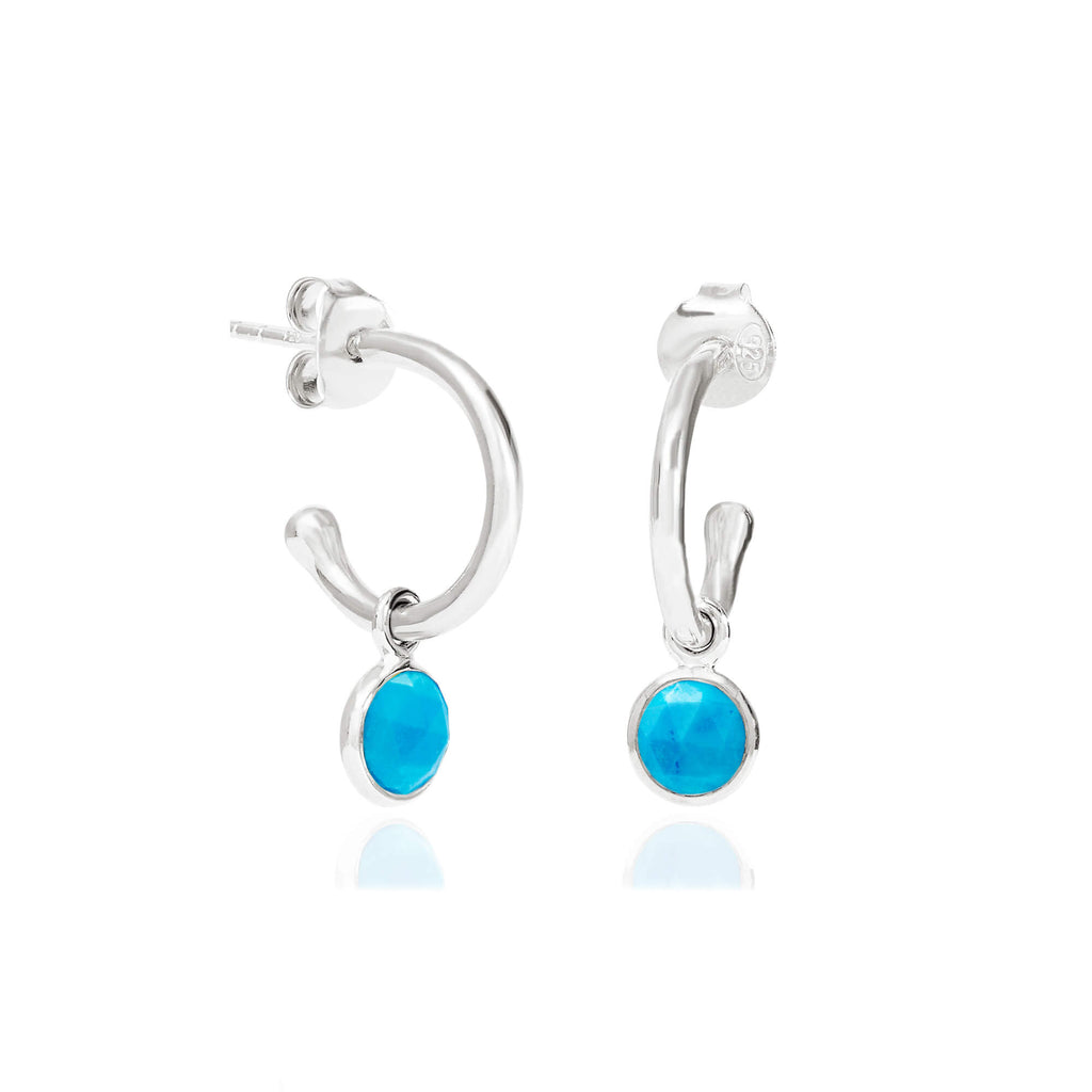 Turquoise December Birthstone Hoop Earrings