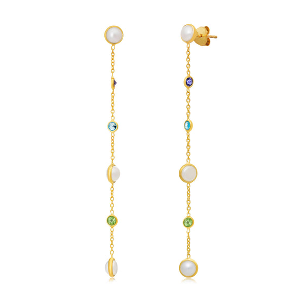 Sequence Pearl Mixed Gemstone Chain Earrings - Auren Jewellery